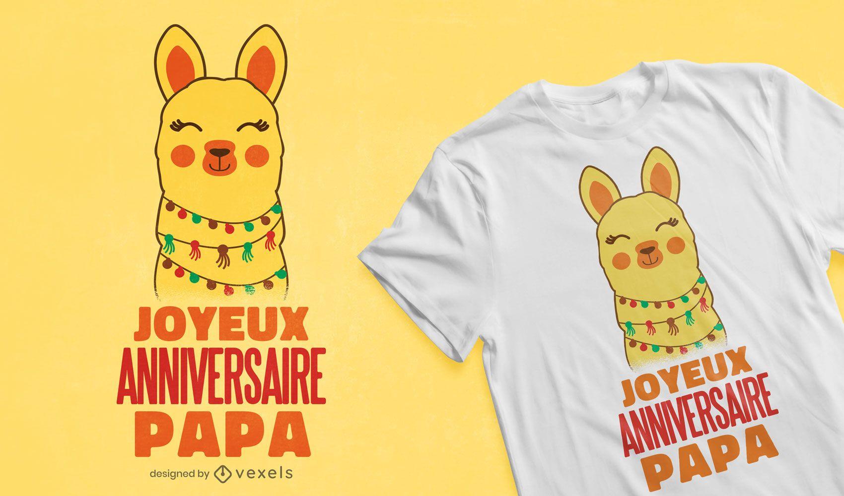 Alpaca birthday french t-shirt design