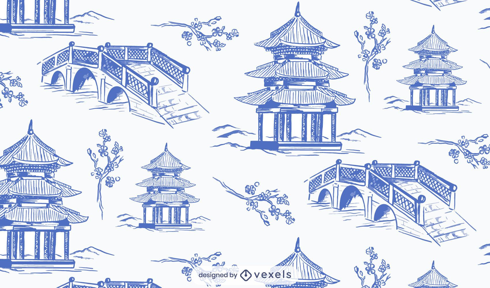 Desenho de padrão de jardim chinês