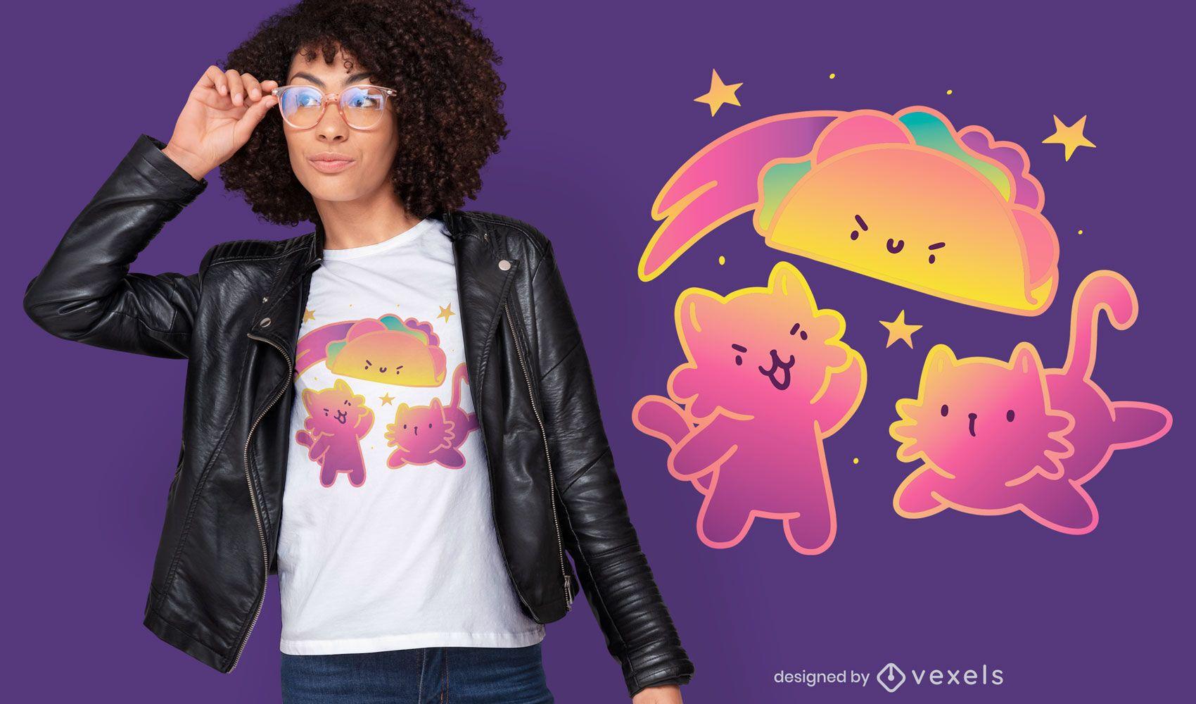 Diseño de camiseta degradado de taco cats
