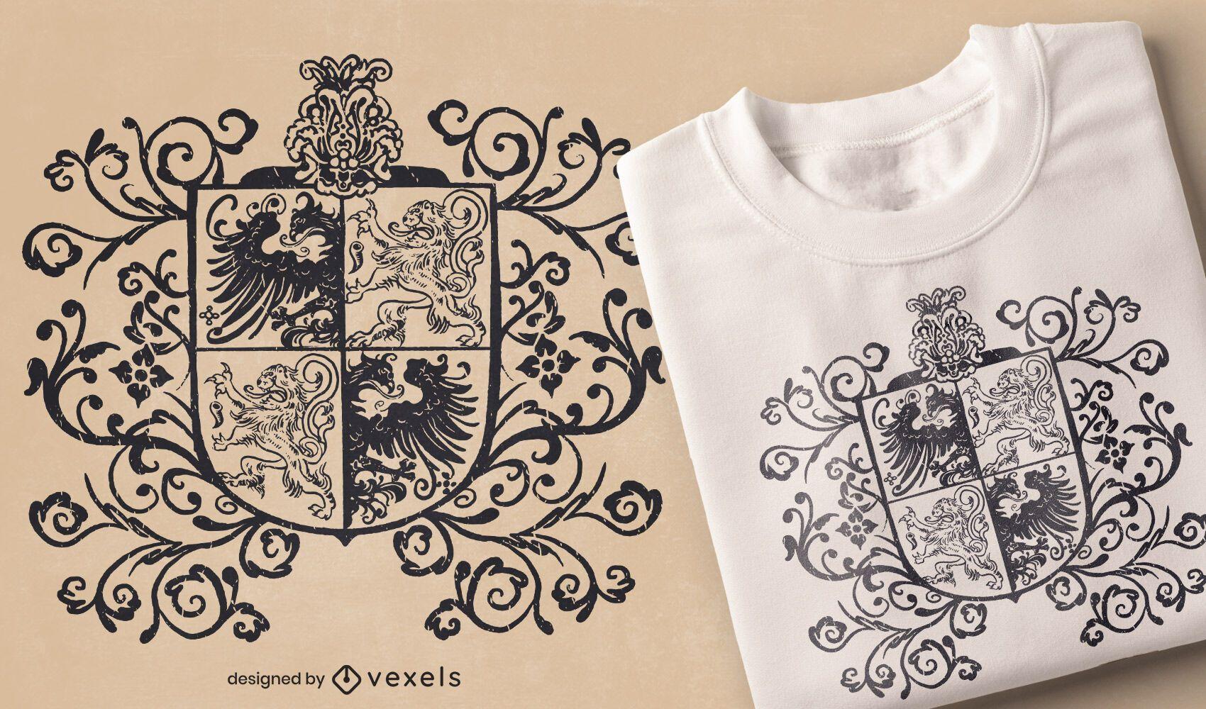 Diseño de camiseta con escudo heráldico.