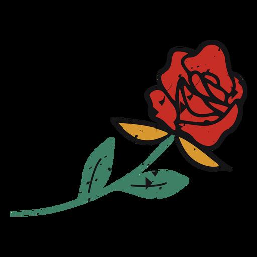 Trazo de color de rosa roja