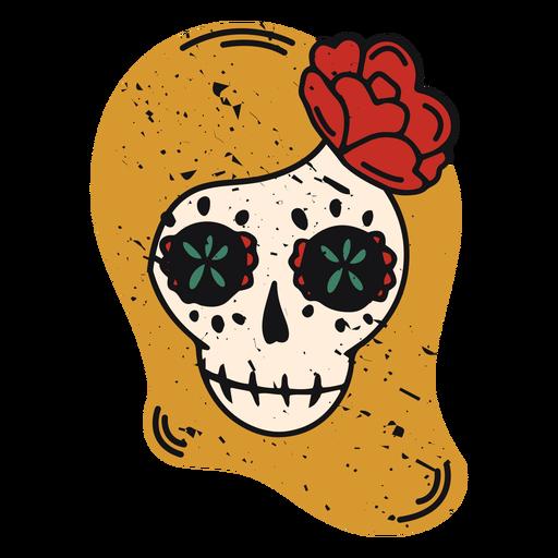 Female sugar skull color-stroke Transparent PNG