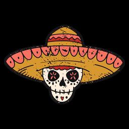 Calavera de azúcar con trazo de color de sombrero