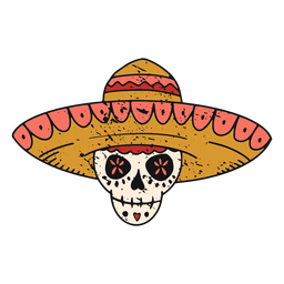 Sugar skull with hat color-stroke