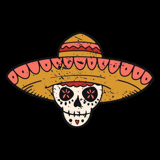 Sugar skull with hat color-stroke Transparent PNG