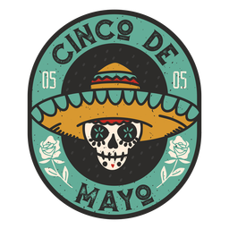 Cinco de mayo skull badge
