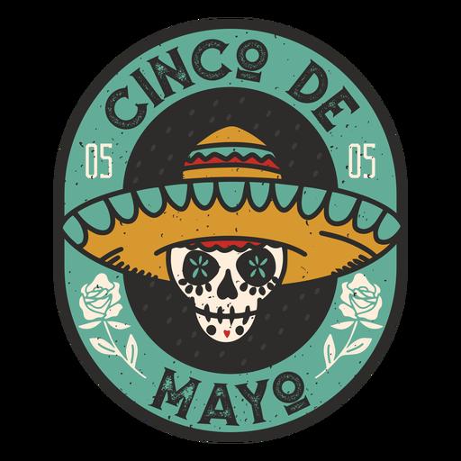 Cinco de mayo skull badge