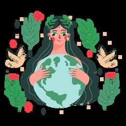 Ilustración de mujer del día de la tierra
