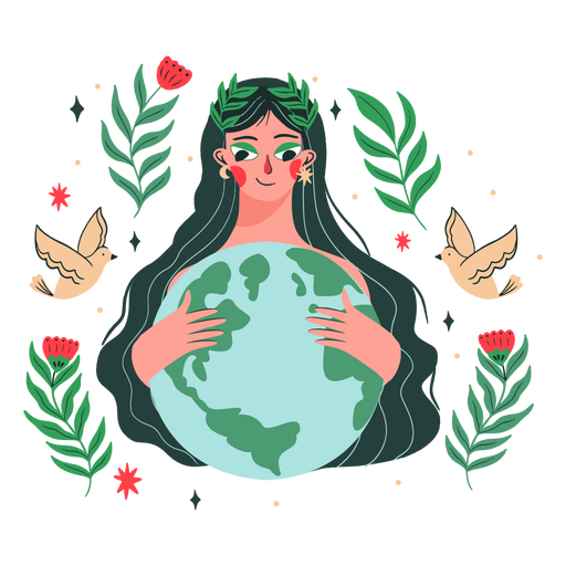 Earth day woman illustration