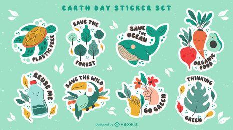Conjunto de adesivos do Dia da Terra