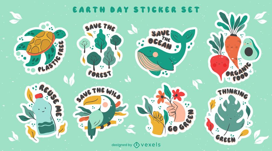 Earth day sticker set