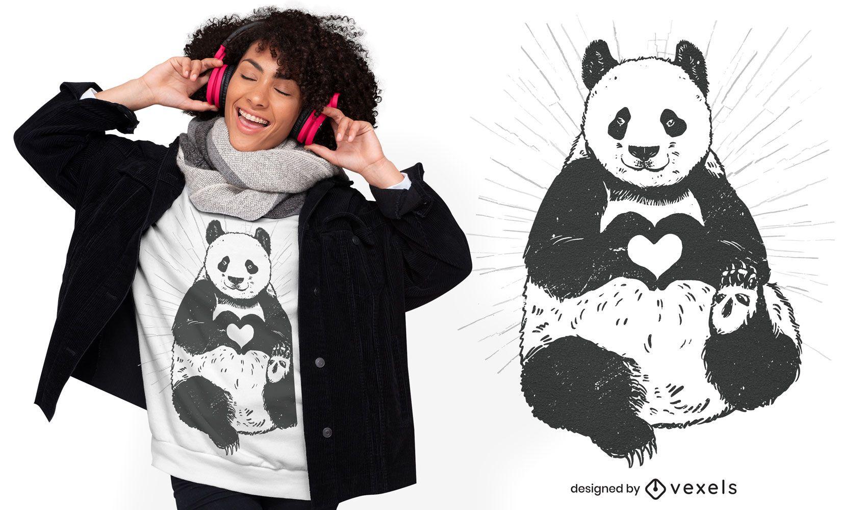 Panda heart t-shirt design