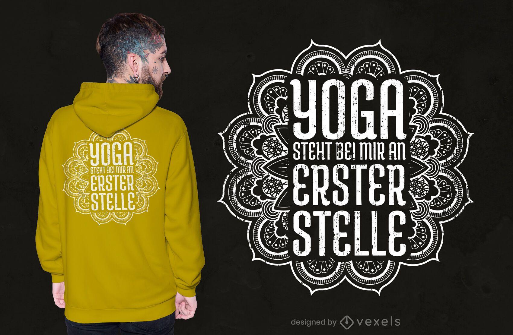 Diseño de camiseta de cita alemana de yoga