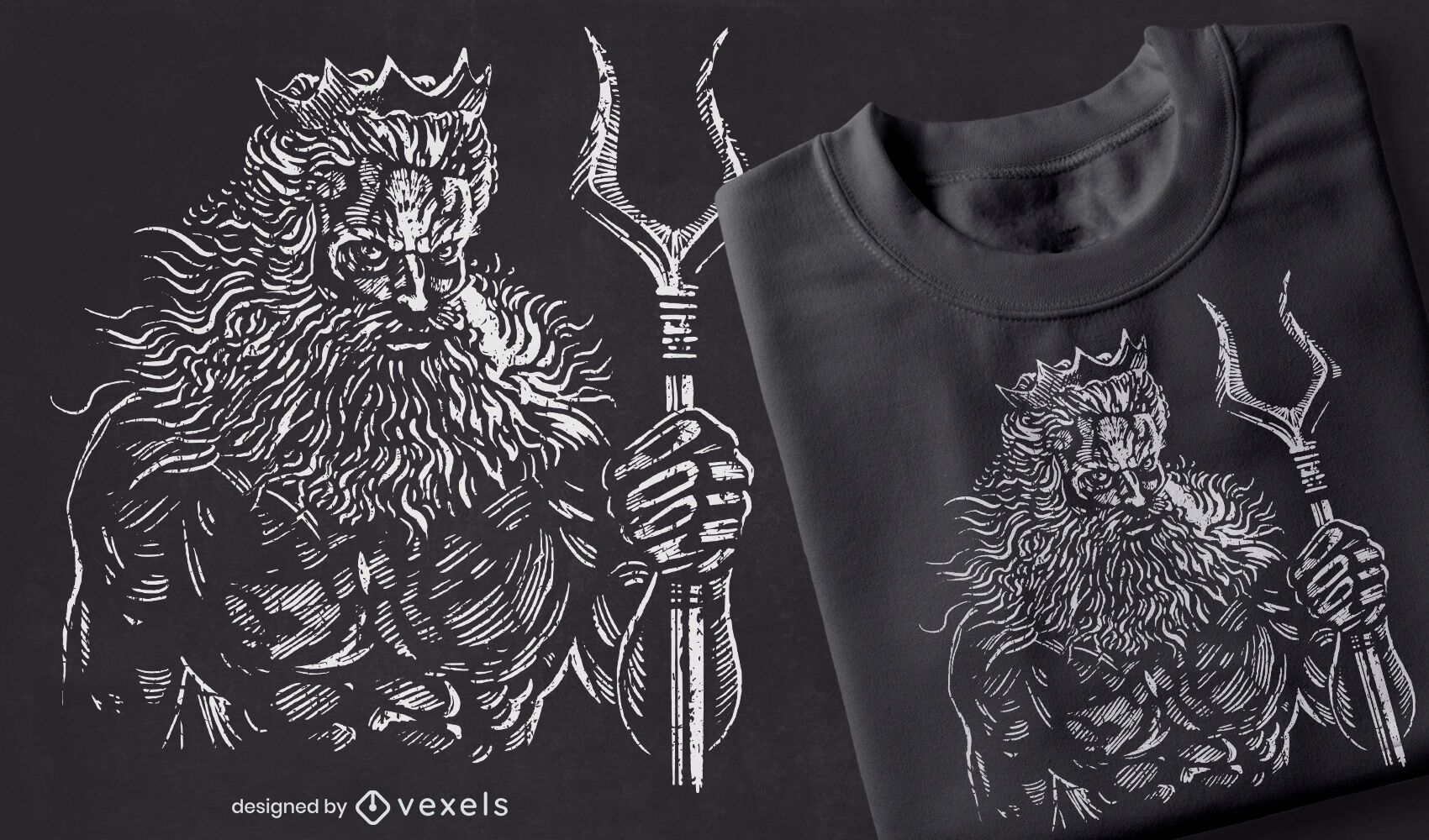 Diseño de camiseta dibujada a mano de Hades.