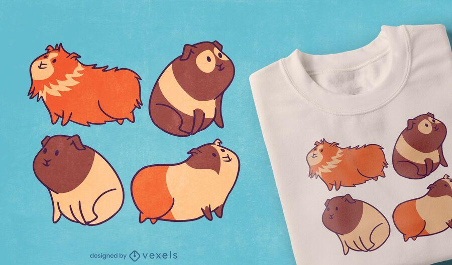 Diseño de camiseta de cuatro conejillos de indias.