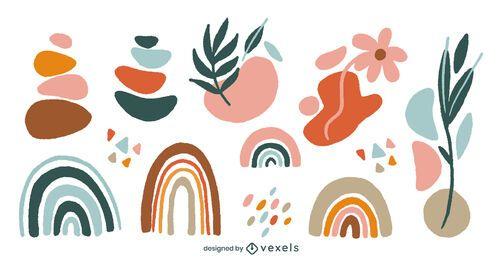Conjunto de formas abstractas orgánicas