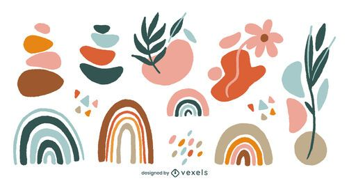 Conjunto de formas abstratas orgânicas