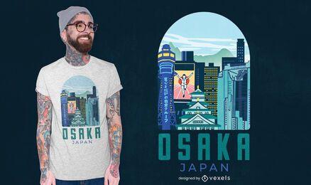Diseño de camiseta de la ciudad de Osaka