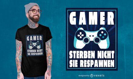 Design de camiseta com citação de respawn de jogador