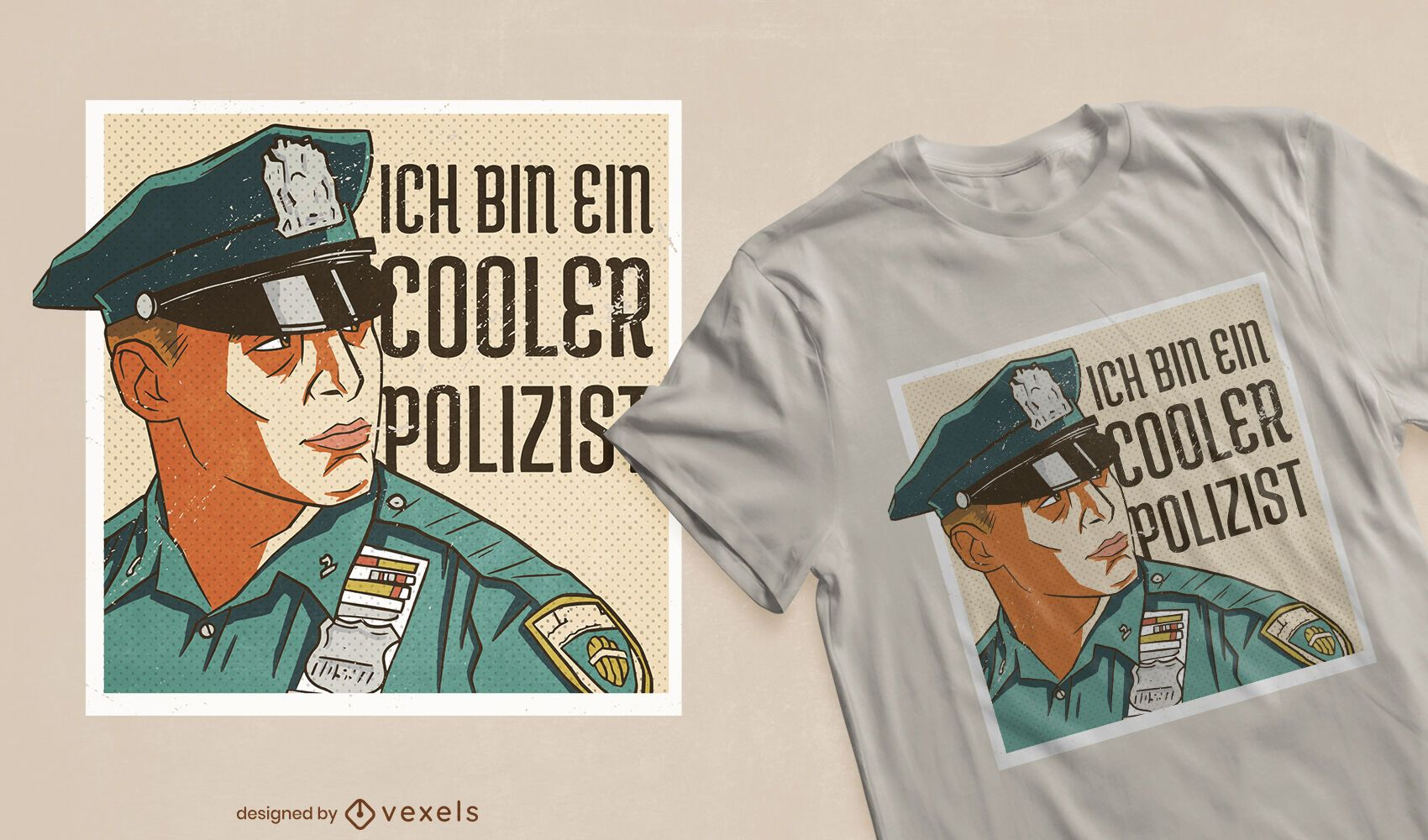 Cool cop German t-shirt design