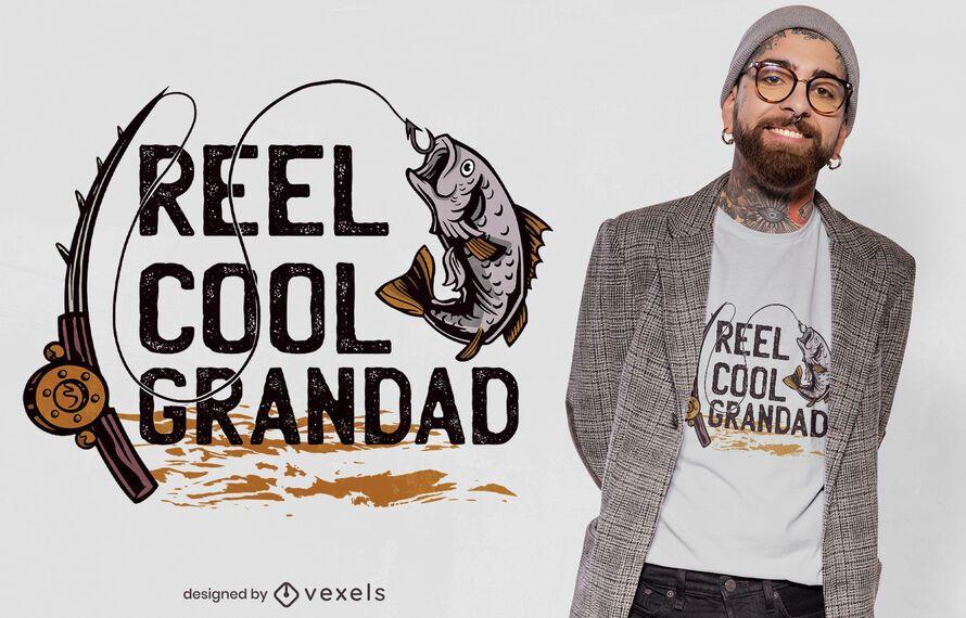 Diseño de camiseta de abuelo de pesca