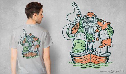 Diseño de camiseta de pescador y perro.