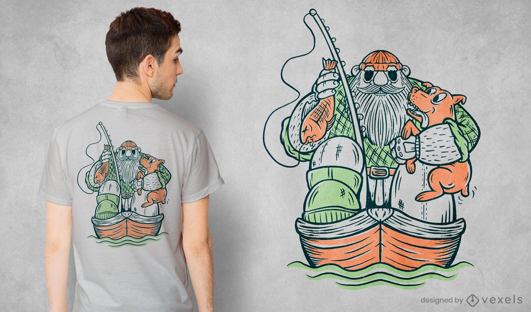 Fisherman and dog t-shirt design