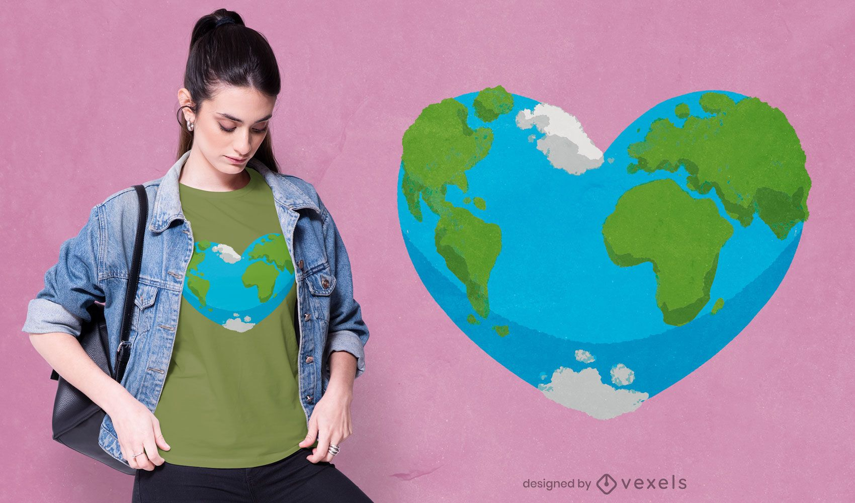 Diseño de camiseta corazón tierra