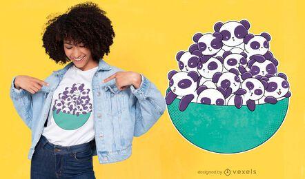 Diseño de camiseta panda bowl