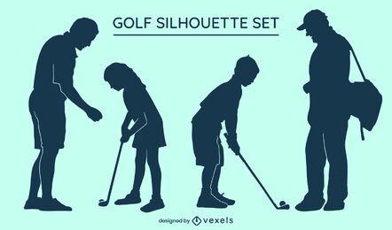 Conjunto de silueta de golf
