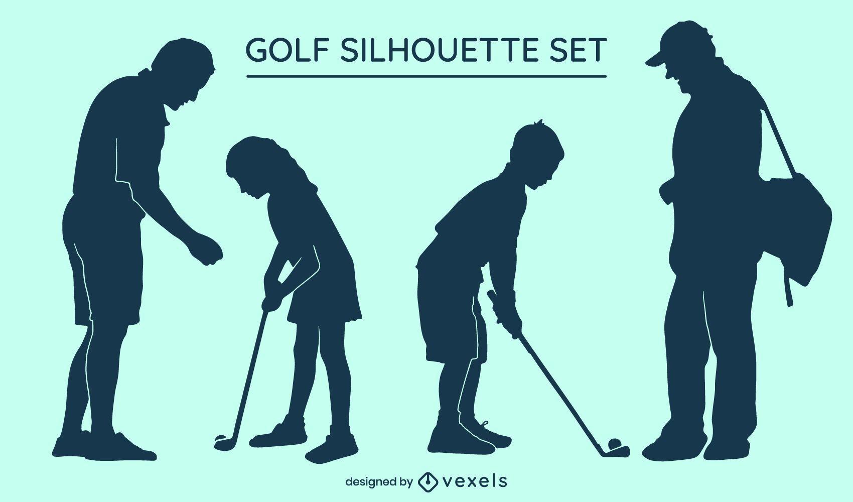 Conjunto de silhueta de golfe