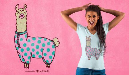 Diseño de camiseta llama pijama.