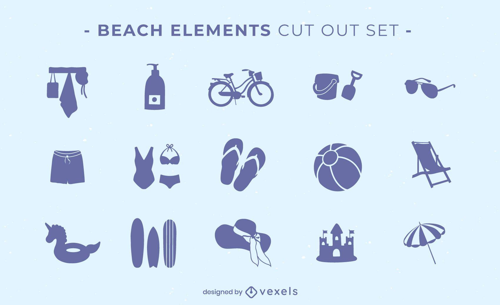 Conjunto de recortes de elementos de playa