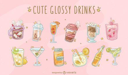 Conjunto de vetores de bebidas brilhantes