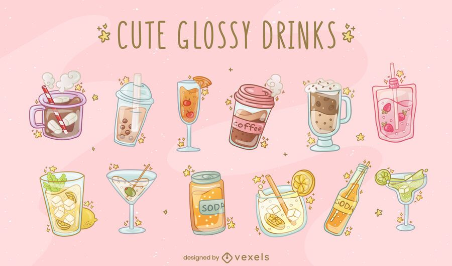 Glossy drinks vector set