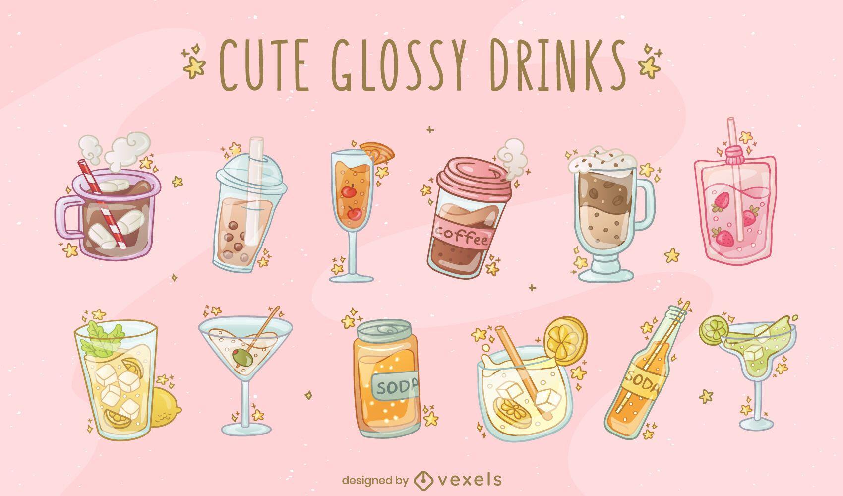 Conjunto de vectores de bebidas brillantes