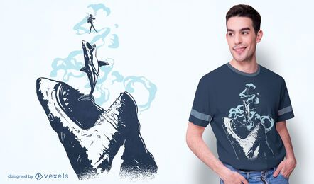 Megalodon chase t-shirt design