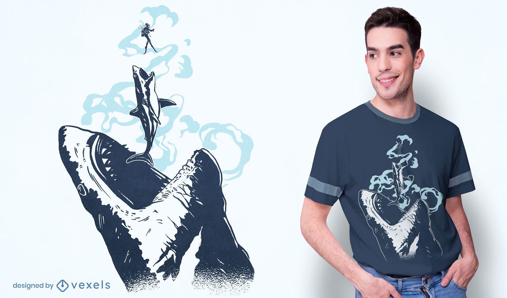 Design de camiseta Megalodon chase