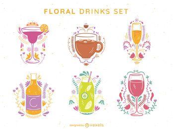 Conjunto de bebida floral