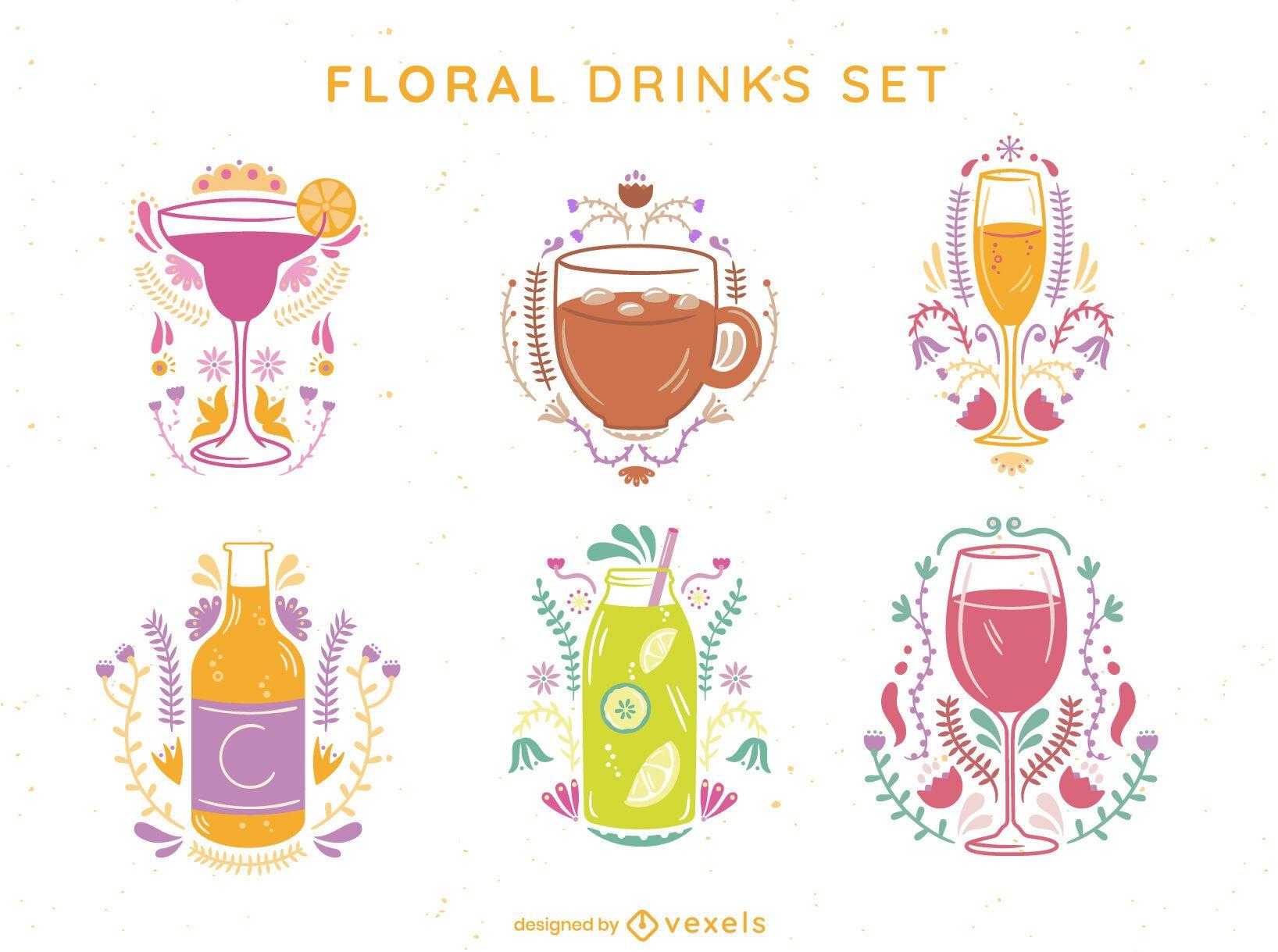 Floral drink set