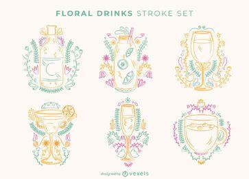 Conjunto de trazos de bebida floral