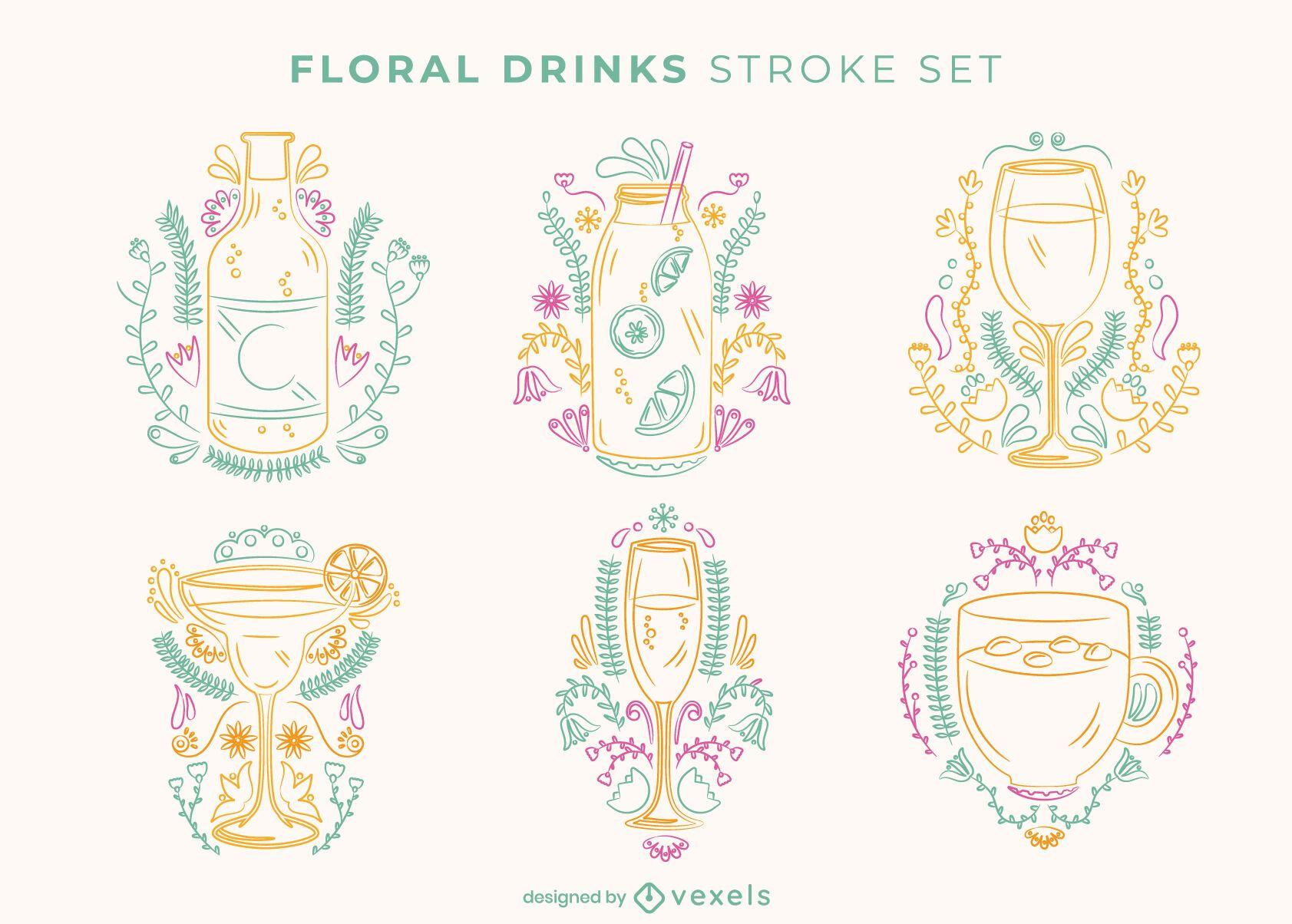 Floral drink stroke set