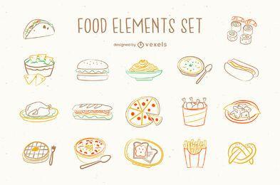 Conjunto de doodle de junk food