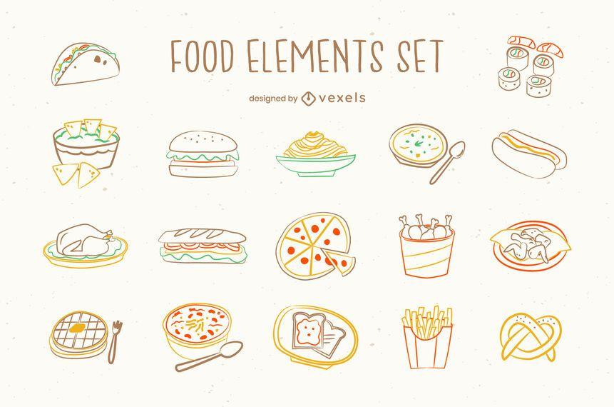 Junk food doodle set