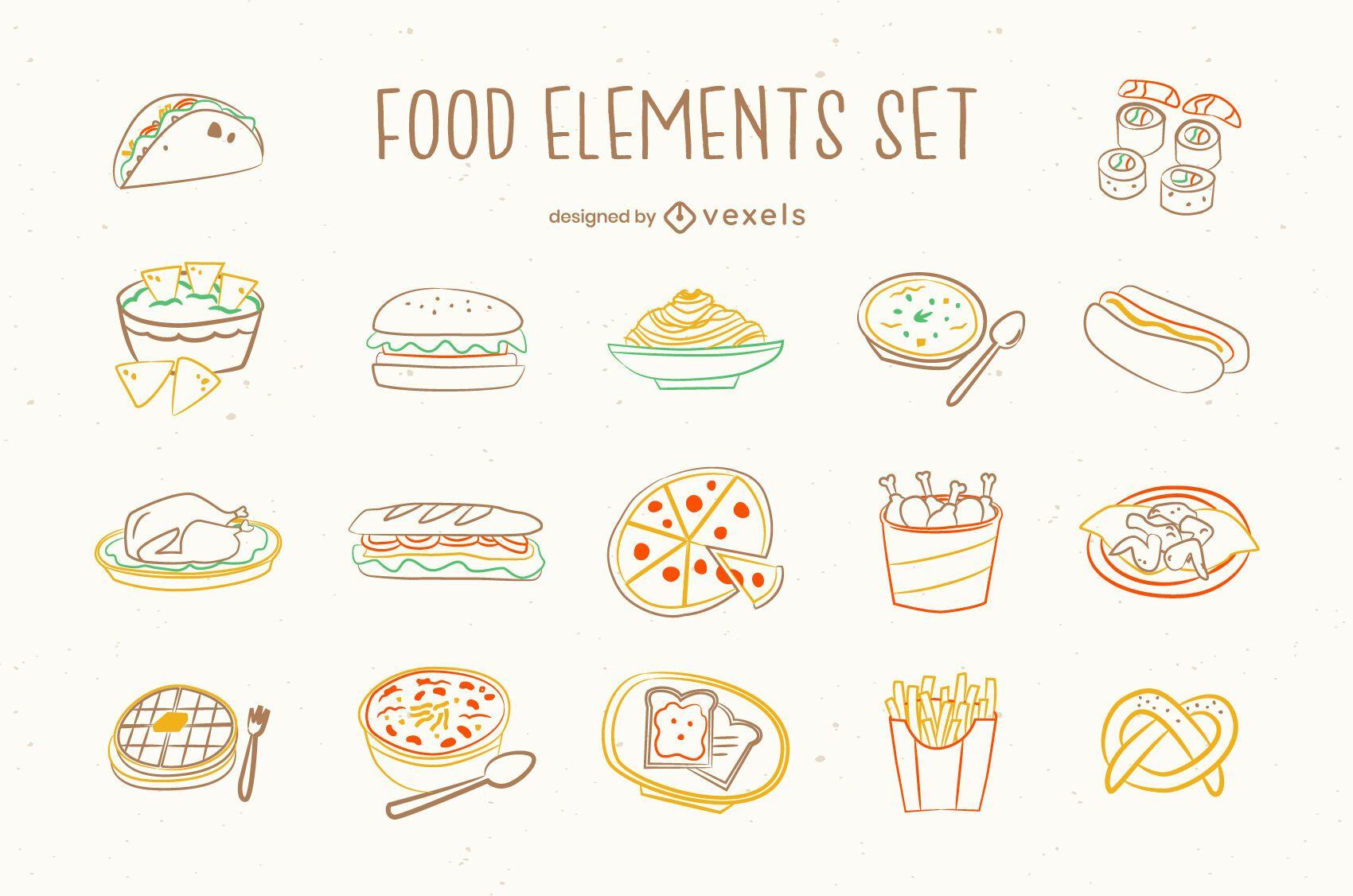 Conjunto de doodle de comida chatarra