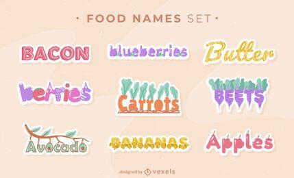 Conjunto de pegatinas de nombres de alimentos
