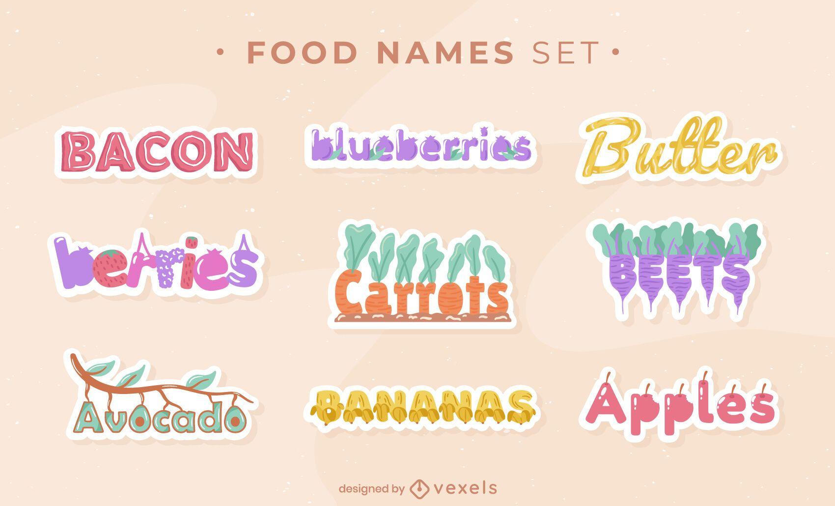 Food names sticker set
