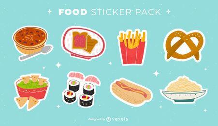 Conjunto de adesivos de comida