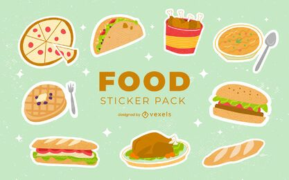 Tasty food sticker set