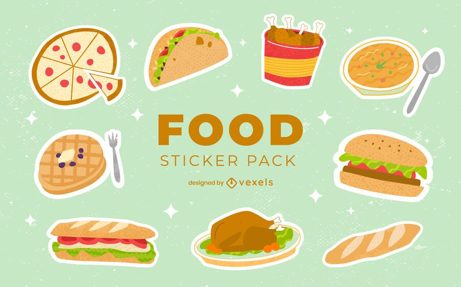 Conjunto de pegatinas de comida sabrosa